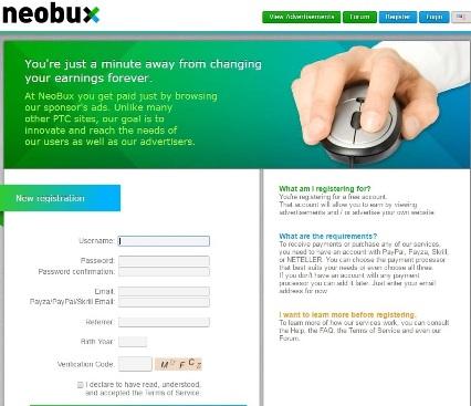 Регистрация на Neobux