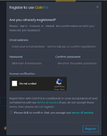 Coinpot-регистрация